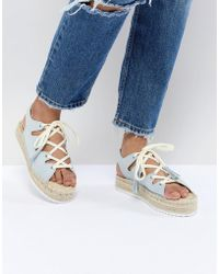 Pull&Bear - Lace Up Espadrille In Blue - Lyst