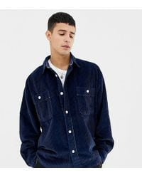 Noak - Chunky Cord Shirt In Navy With Long Sleeves - Lyst