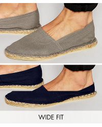 ASOS - Wide Fit Espadrilles In Gray And Navy 2 Pack Save - Lyst