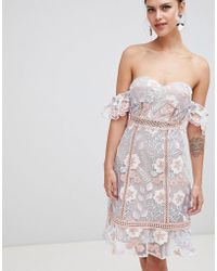 True Decadence - Off Shoulder Embroidered Dress - Lyst