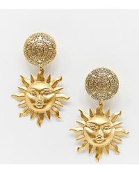 Regal Rose - Arlana Gold Plated Sun Statement Clip On Drop Earrings - Lyst
