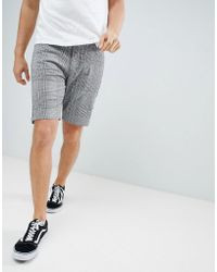 ASOS - Design Slim Shorts In Monochrome Check With Side Taping - Lyst