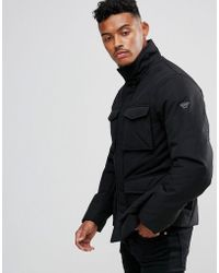 Armani Jeans - Four Pocket Field Coat Black - Lyst