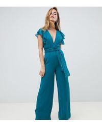 ASOS - Asos Design Petite Flutter Sleeve Jumpsuit - Lyst