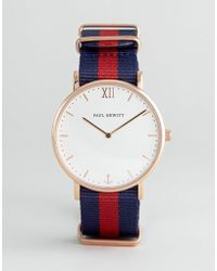PAUL HEWITT - Sailor Nato Strap Watch In Navy/red 39mm - Lyst