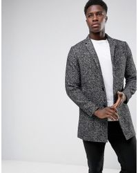 SELECTED - Salt N Pepper Notch Overcoat In Wool Mix - Lyst