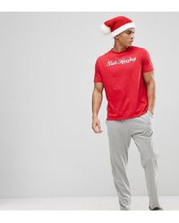 River Island - Christmas Pyjama Set With Bah Humbug Print In Red - Lyst