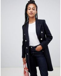 Mango - Pinstrie And Double Breasted Tailored Coat In Black - Lyst
