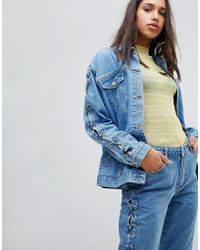 Chorus - Lace Up Sleeves Oversized Denim Jacket - Lyst