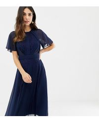 fdc529895ff ASOS - Pleated Panelled Flutter Sleeve Midi Dress With Lace Inserts - Lyst