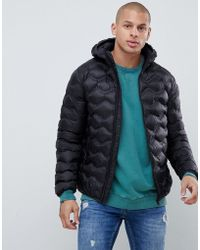Gym King - Hooded Puffer Jacket In Black With Bubble Quilting - Lyst 6d907af1c