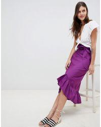 ASOS DESIGN - Cotton Midi Skirt With Tie Belt And Ruffle Hem - Lyst