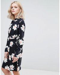 Vila - Oversize Daisy Print Shift Dress - Lyst