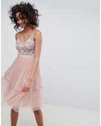 Needle & Thread - Embroidered Tulle Midi Dress With Cami Straps In Vintage Rose - Lyst