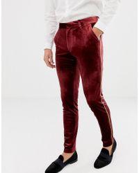 ASOS Super Skinny Smart Pant In Burgundy Velvet With Gold Piping