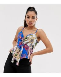Missguided - Twist Front Cami Top In Mixed Floral Print - Lyst