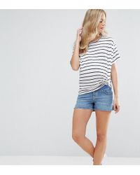 ASOS - Denim Side Split Shorts In Phoebe Wash - Lyst