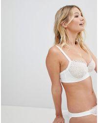 47ce6ced96fff ASOS - Design Fuller Bust Premium Bridal Corded Fan Lace Underwired Bikini  Top Dd-g