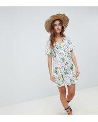 ASOS - Asos Design Petite Lemon Conversational Print V Neck Swing Dress - Lyst