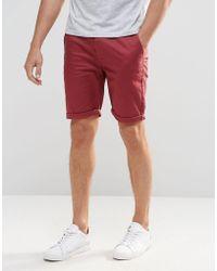 ASOS | Skinny Chino Shorts In Burgundy | Lyst