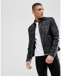 Barneys Originals - Real Leather Quilted Biker Jacket - Lyst