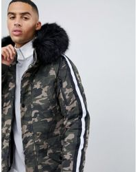 Sixth June - Parka Coat In Camo With Black Faux Fur Hood - Lyst