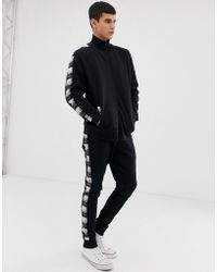 cd39de6d8c44 ASOS - Tracksuit Track Neck Jersey Jacket   Skinny joggers With Check Side  Stripe - Lyst