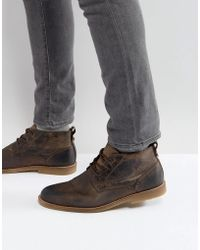 River Island - Leather Desert Boots In Light Brown - Lyst