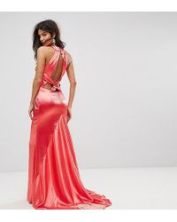 Jarlo - High Neck Fishtail Maxi Dress With Strappy Open Back Detail - Lyst