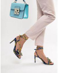 Bershka - Check Skinny Sandal In Multi - Lyst