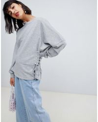 Pieces - Sweatshirt With Lace Up Side Detail - Lyst