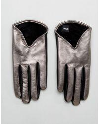 ASOS - Short Silver Metallic Leather Gloves - Lyst