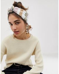 ASOS - Knot Front Headscarf In Natural Stripe - Lyst