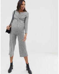 0081b796ee3 Lyst - Miss Selfridge Petite Striped Culottes Jumpsuit
