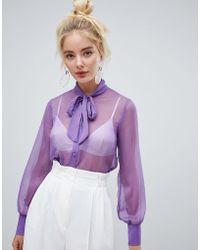 Fashion Union - Sheer Tie Neck Shirt - Lyst