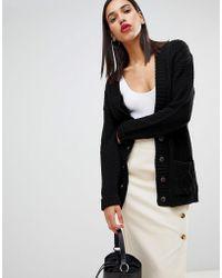 Boohoo - Button Down Cardigan In Black - Lyst