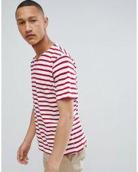 Mango - Man Striped T-shirt In Red - Lyst