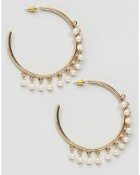 ASOS - Faux Pearl Hoop Earrings - Lyst