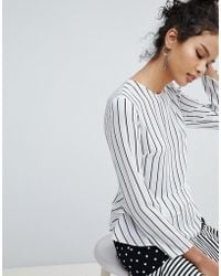 Miss Selfridge - Double Ruffle Peplum Striped Blouse - Lyst