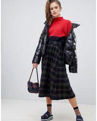 Monki - Tartan Print Midi Skirt In Navy And Green - Lyst