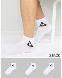 Le Coq Sportif - 3 Pack Quarter Socks In White 1520743 - Lyst