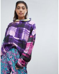 Jaded London - Fleece Festival Hoodie In Check Print - Lyst