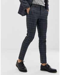 9e8e604c8f8 River Island Skinny Fit Suit Pants In Grey Check in Gray for Men - Lyst