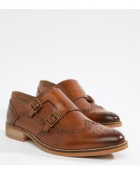 ASOS - Design Wide Fit Monk Shoes In Tan Leather With Natural Sole - Lyst