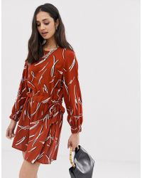 f20482e91d2 ASOS - Ruched Waist Mini Dress In squiggle Print - Lyst
