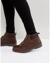 River Island - Worker Boots In Brown - Lyst
