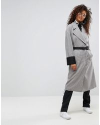 ASOS - Check Coat With Tipped Rib Funnel Neck And Belt - Lyst