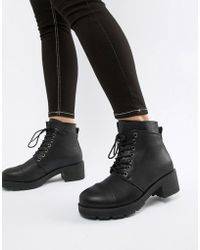 Pieces - Lace Up Tracked Sole Ankle Boot - Lyst