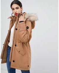 Vero Moda - Faux Fur Hooded Parka - Lyst