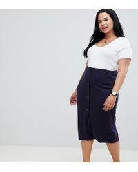 ASOS - Asos Design Curve Ponte Button Front Pencil Skirt - Lyst